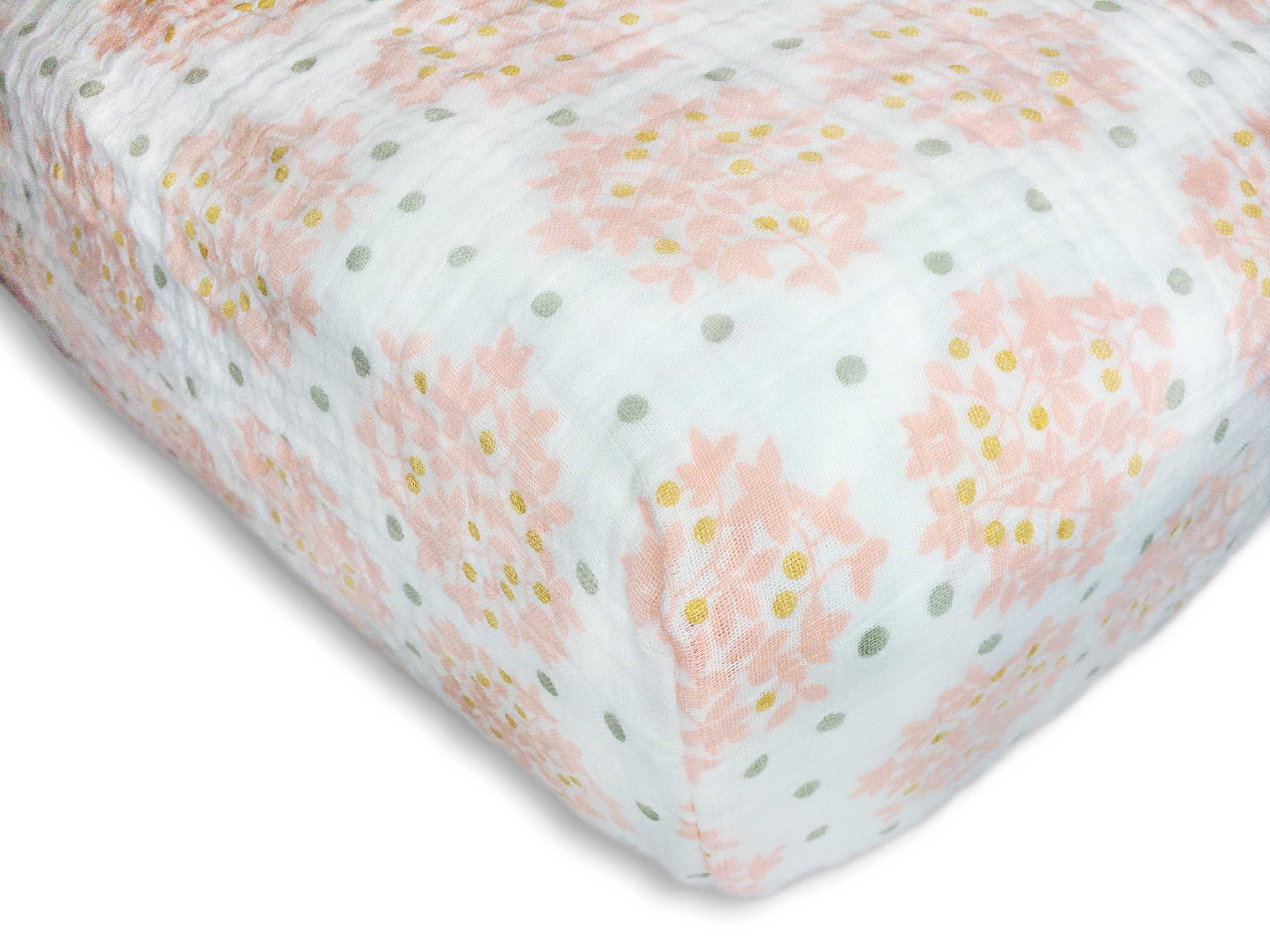 SwaddleDesigns Cotton Muslin Crib Sheet, Heavenly Floral with Shimmer, Pink by SwaddleDesigns