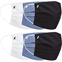 PALE MALE BOX FABRIC FACE MASKS Water Repellent Pleated Style with Nose wire (2Black, 2Blue, 2White (Size:Medium))
