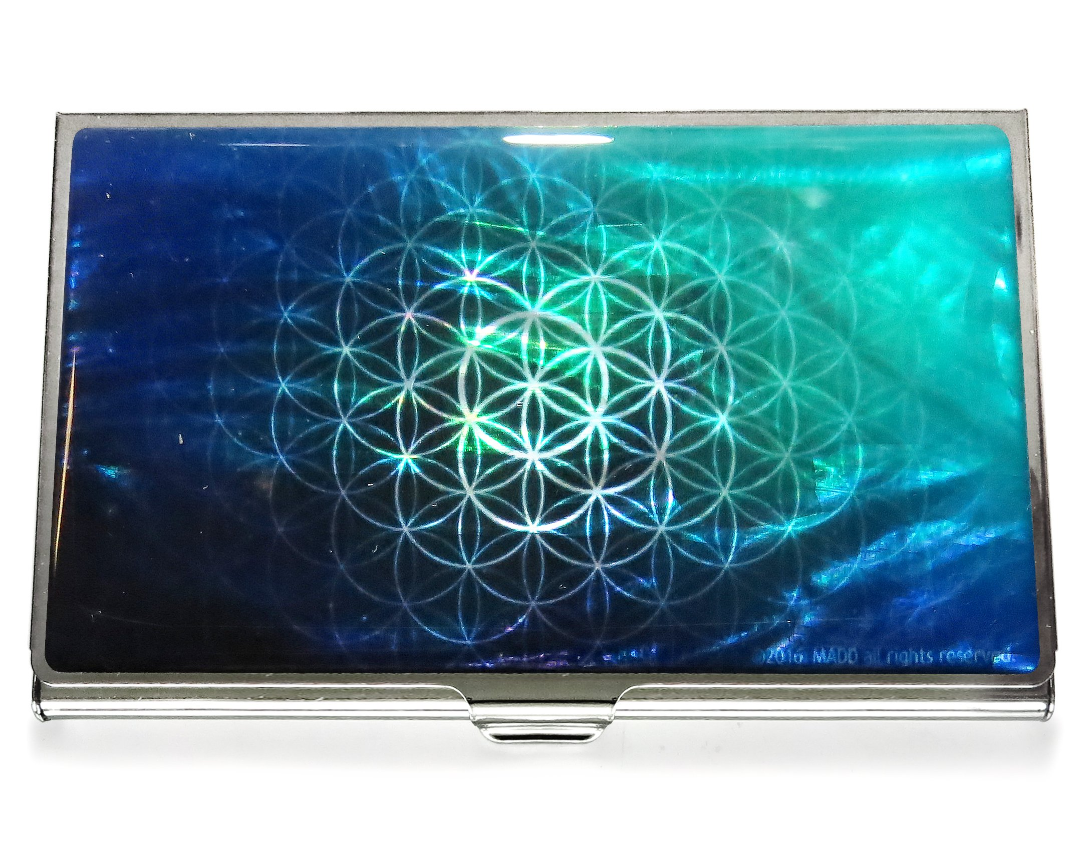 Business Credit Card Case Id Holder Metal Travel Wallet Mother of Pearl Flower of Life Green (Emerald)