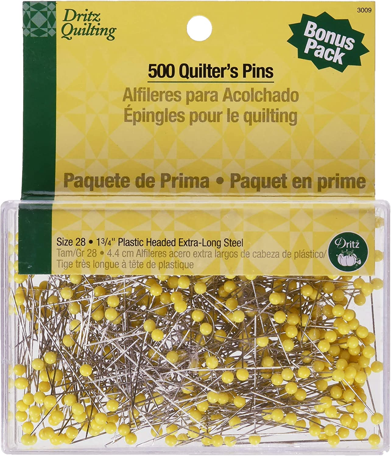 Dritz 3009 Quilting Pins, 1-3/4-Inch, Yellow (500-Count)