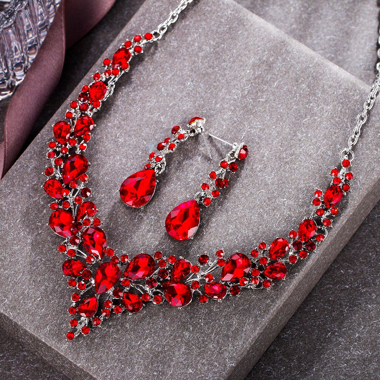 Clearine Femme Austrian Cristal Goutte Floral Collier Plastron Boucles doreilles Ensemble Mariage Bijou El/égant