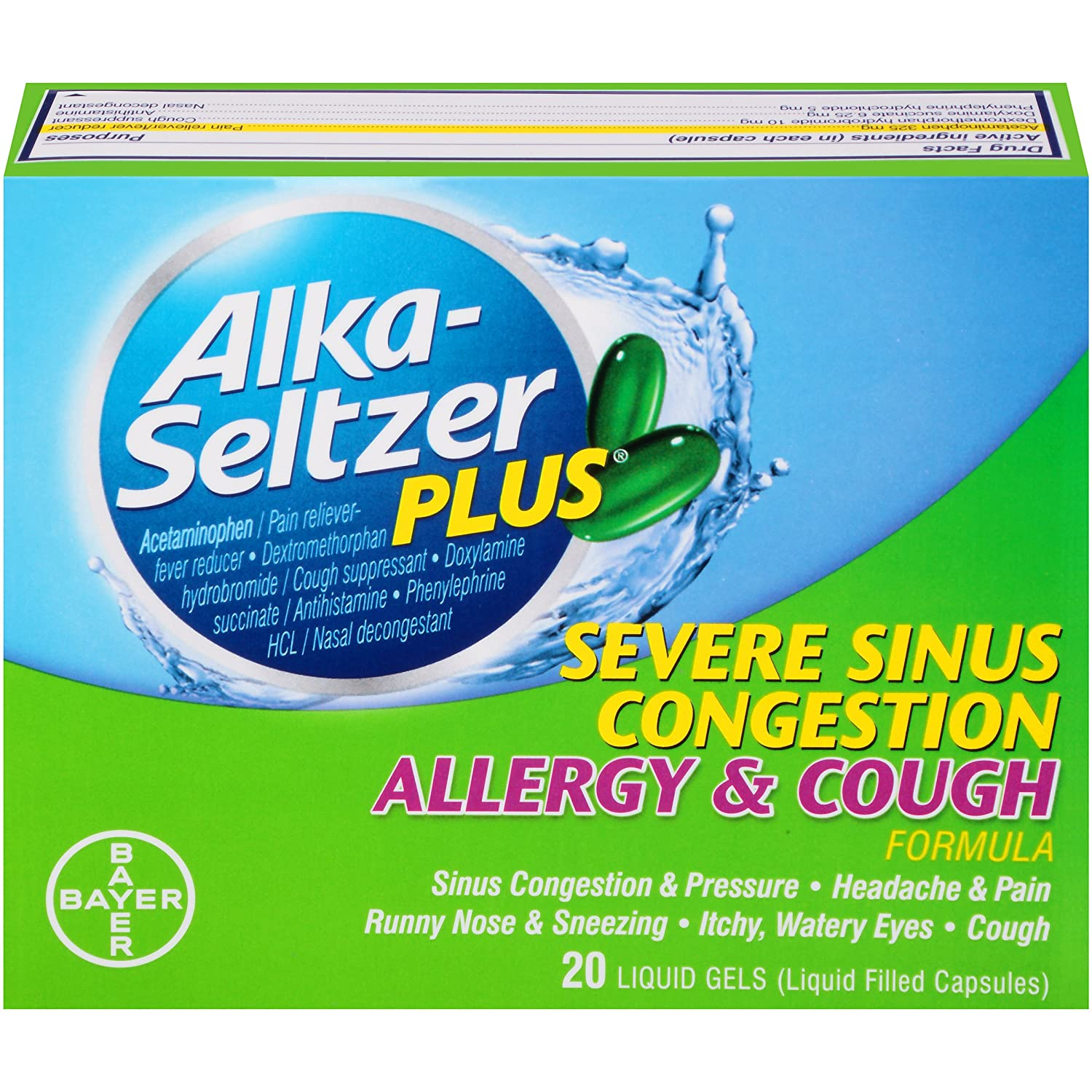 amazon com alka seltzer plus severe sinus congestion allergy and cough liquid gels 20 count health personal care