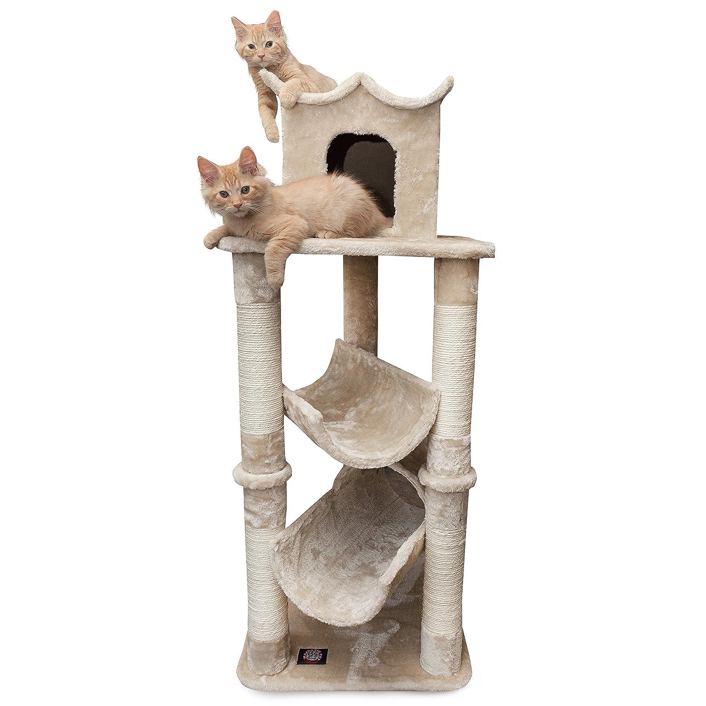 Majestic Pet Products 47 inch Beige Casita Cat Furniture Condo House Scratcher Multi Level Pet Activity Tree