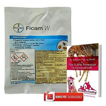 Tratamiento profesional Ficam W de la marca Bayer para eliminar pulgas, ácaros rojos