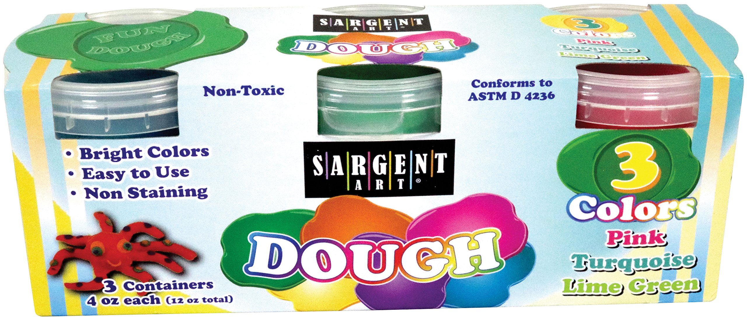 Sargent Art 85-3403, Dough Set 4 oz 3 Different Bright Colors Included