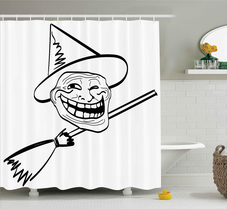 Humor Decor cortina de ducha por Ambesonne, Halloween bruja diseño de espíritu Guy Meme Lol Joy Spooky Avatar con imagen, tela Set de decoración de baño con ...