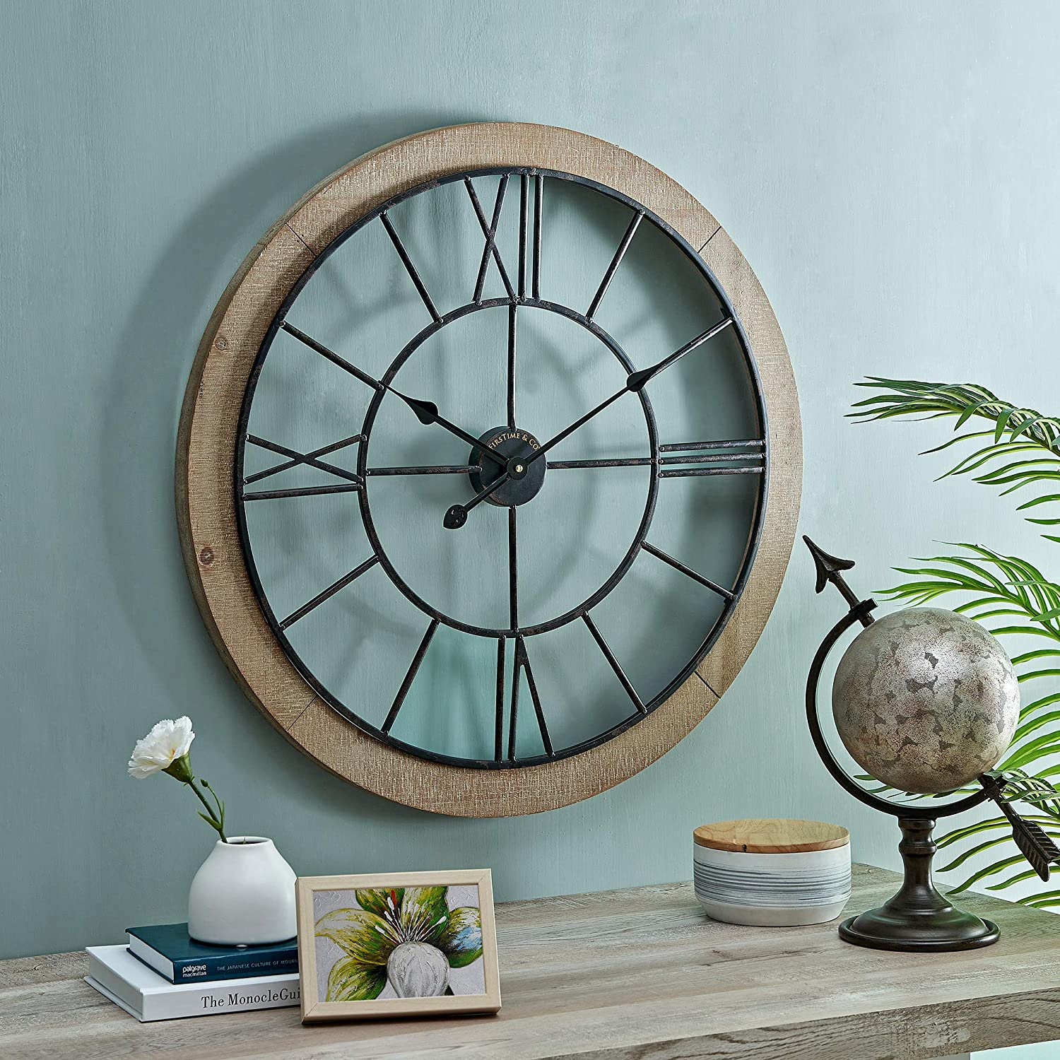 FirsTime & Co. Brown Timeworn Farmhouse Cottage Clock, American Designed, Brown, 27 x 2 x 27 inches