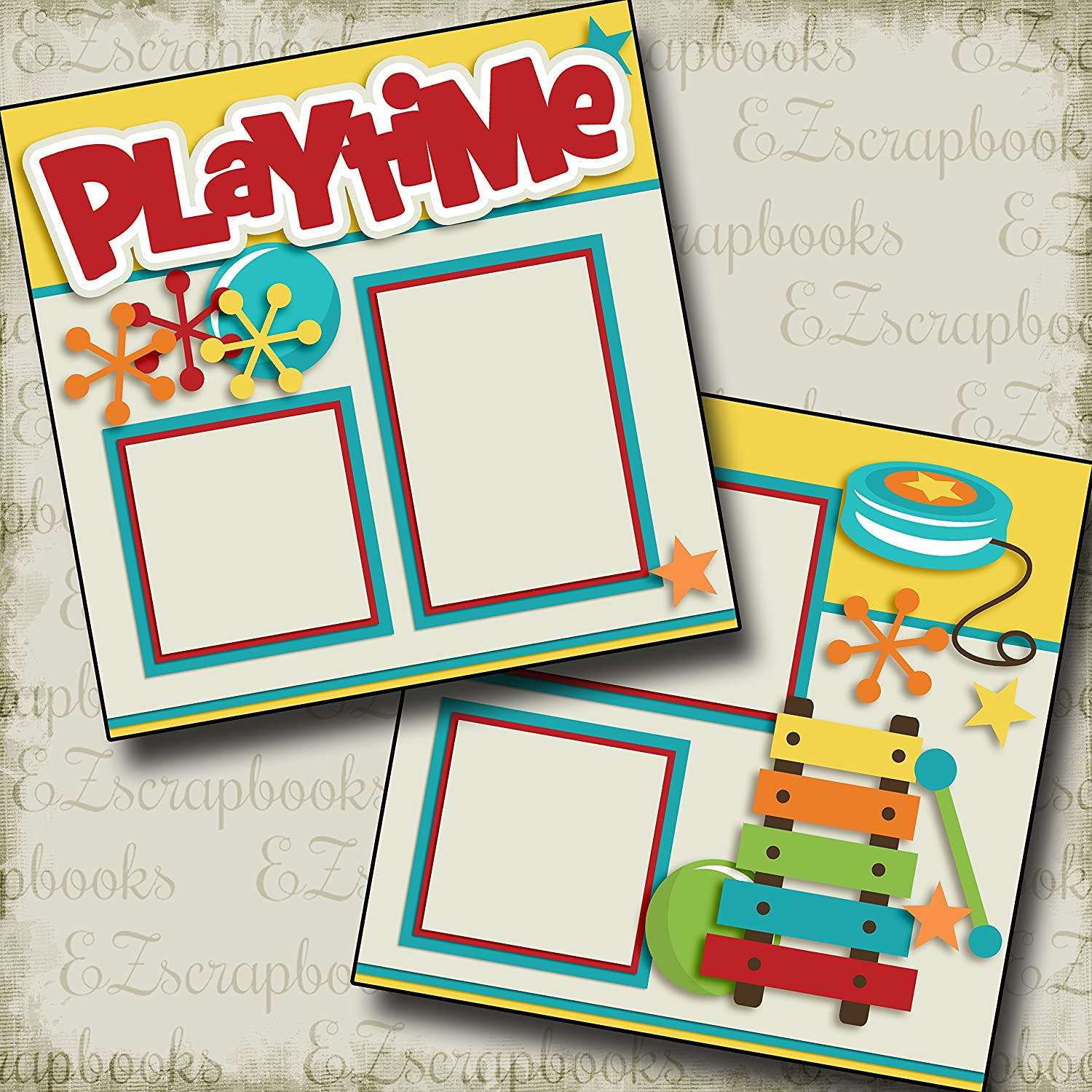 PLAYTIME - Premade Scrapbook Pages - EZ Layout 2572