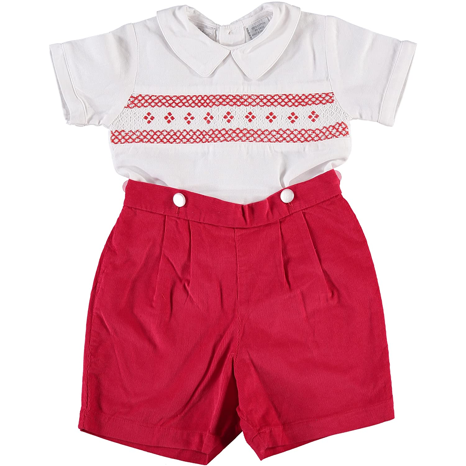 1940s Children's Clothing: Girls, Boys, Baby, Toddler Boys Diamond Smocking Red Corduroy Short Sleeve Bobbie Suit $49.00 AT vintagedancer.com