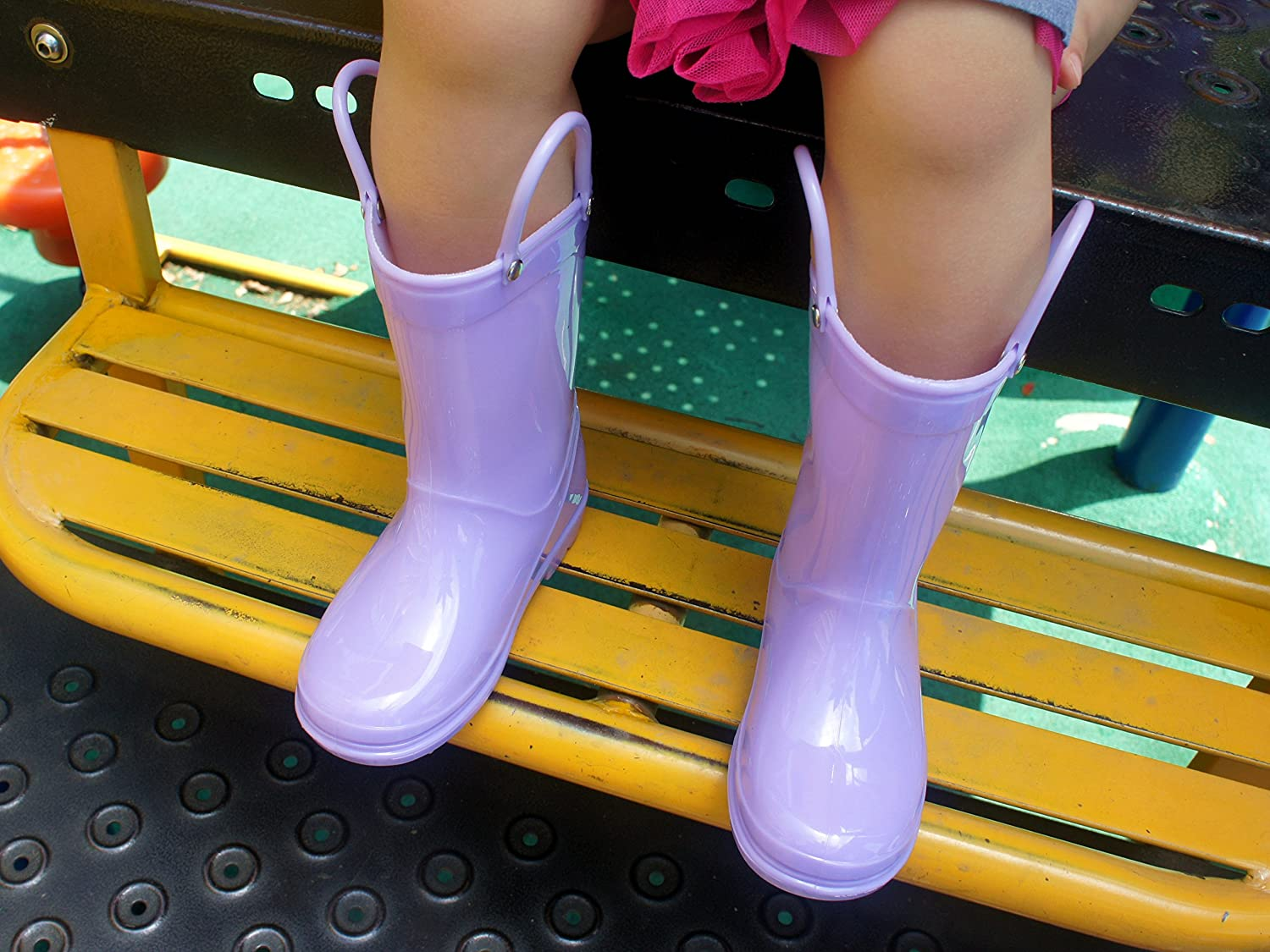 Red//Black//Blue//Purple//Pink Outee Toddler Kids Rain Boots Solid Color with Handle