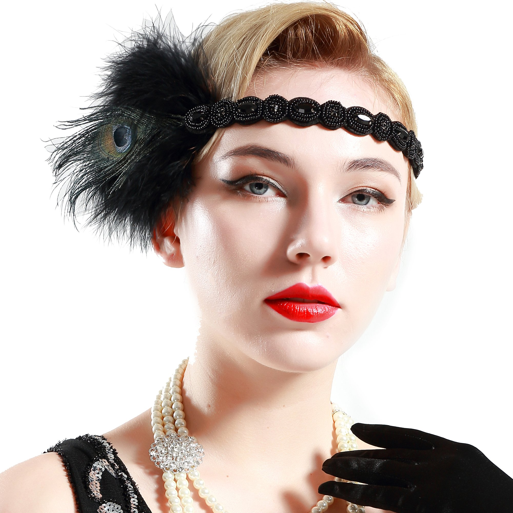 BABEYOND Roaring 20s Headpiece 1920s Flapper Peacock Feather Headband