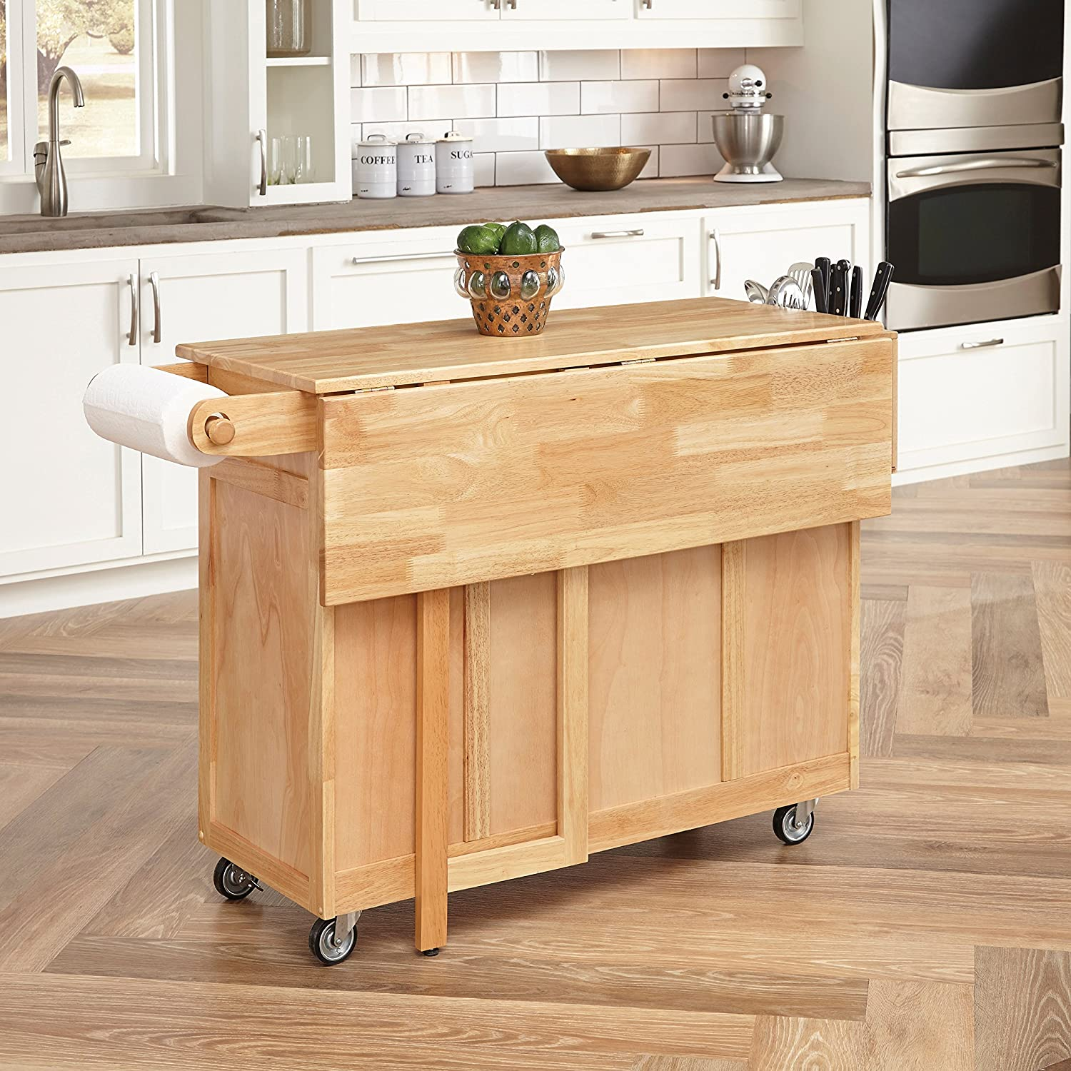amazon com  home styles 5023 95 wood top kitchen cart with breakfast bar natural finish  kitchen  u0026 dining amazon com  home styles 5023 95 wood top kitchen cart with      rh   amazon com