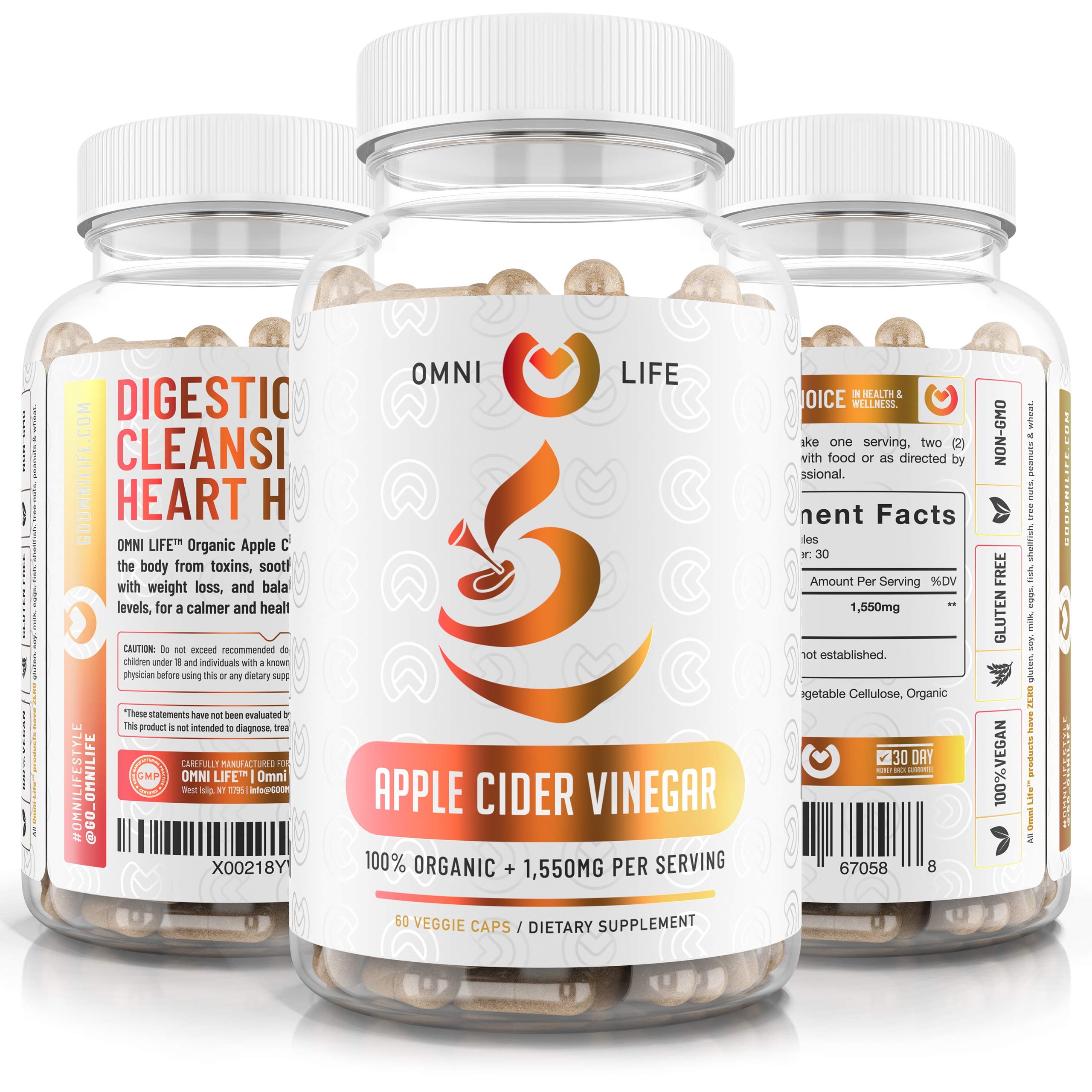 Apple Cider Vinegar Capsules - 100% Organic Max Strength 1550mg Natural Weight Loss, Detox, Digestion - Powerful Cleanser, Premium Certified Organic & Non-GMO ACV Supplement - 60 Vegan Capsules.