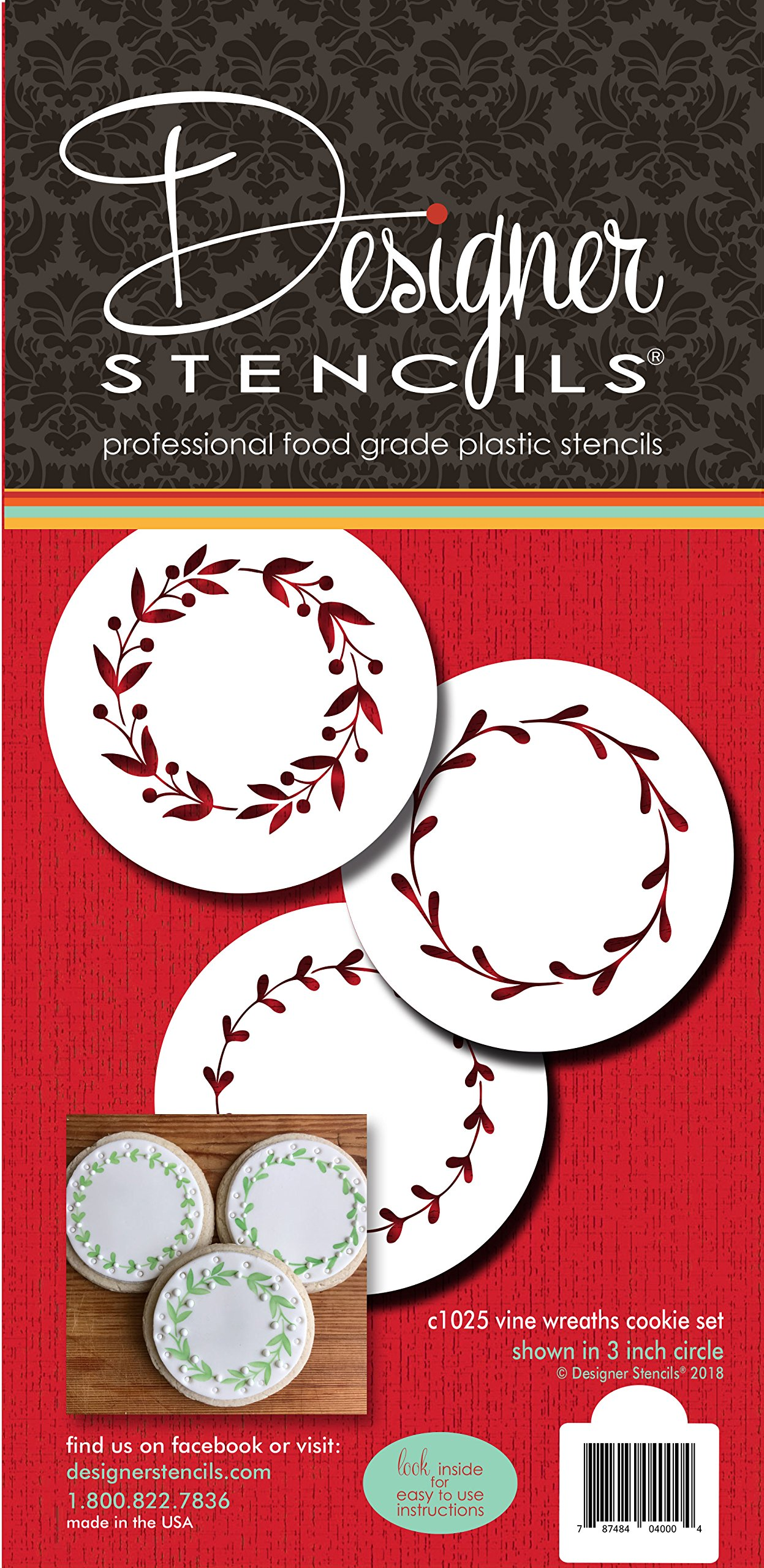 Vine Wreaths Cookie Stencil Set C1025 by Designer Stencils