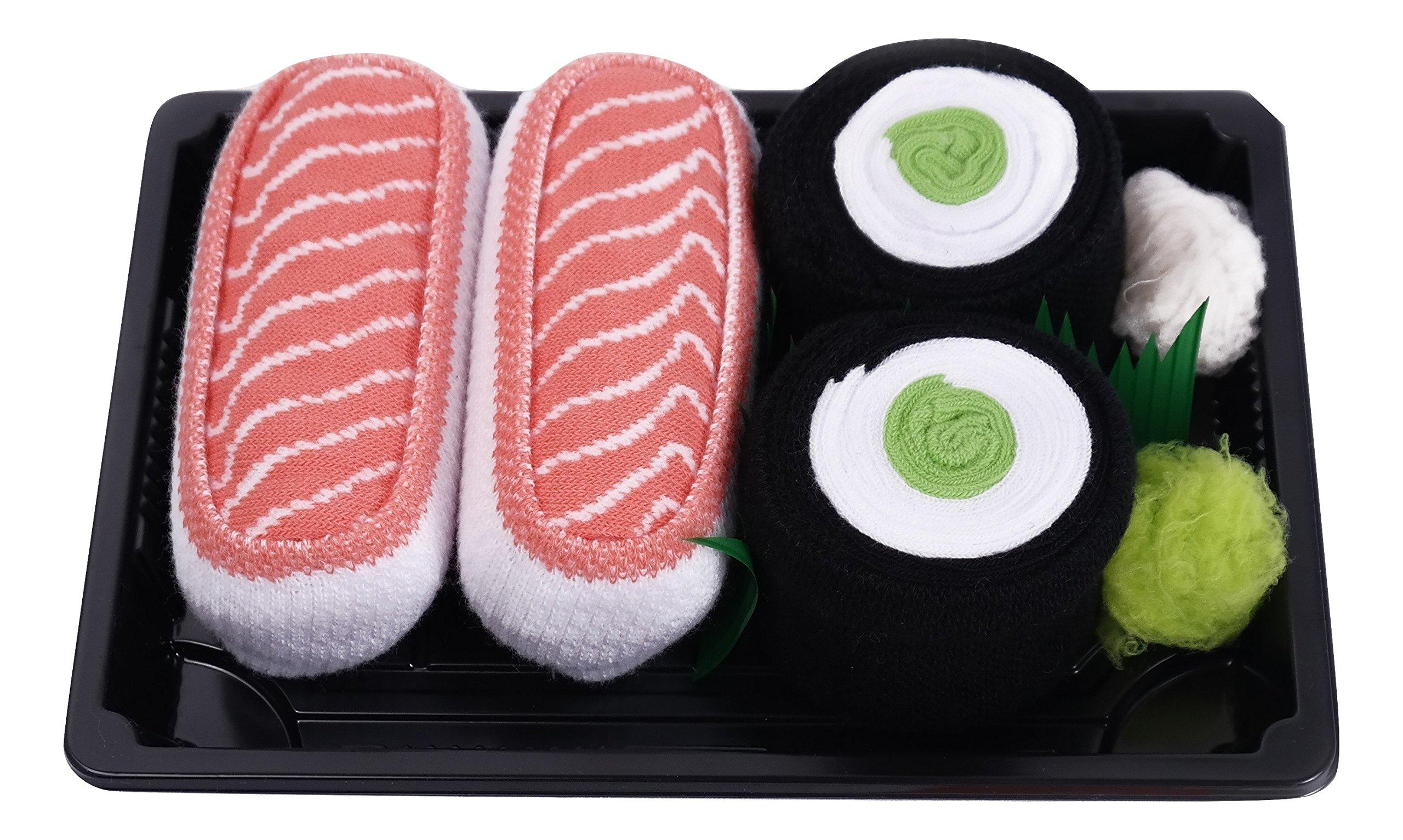 SUSHI SOCKS BOX 2 pairs Salmon Cucumber Maki Unisex FUNNY GIFT!Made in Europe L