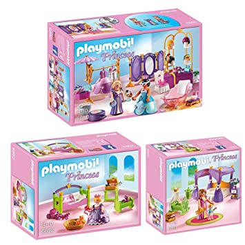 Playmobil® Princess Lot De 3 6850 6851 6852 Vestiaire Et De Salon De Beauté  +