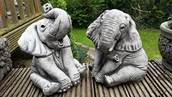 ONEFOLD   ELEPHANTS PAIR   HAND CAST STONE GARDEN ORNAMENT / STATUE /  SCULPTURE