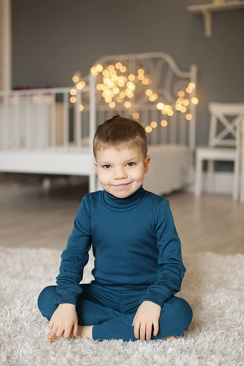 Kids Roll-Neck T-Shirts Long-Sleeved with High Neck Top Underwear Tee Shirt for Girls Boys Unisex 3 Month 12 Years 100/% Merino Wool