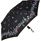 RainStoppers Umbrella Auto Open/Close Changing Color Music Print, Black/White, 44""