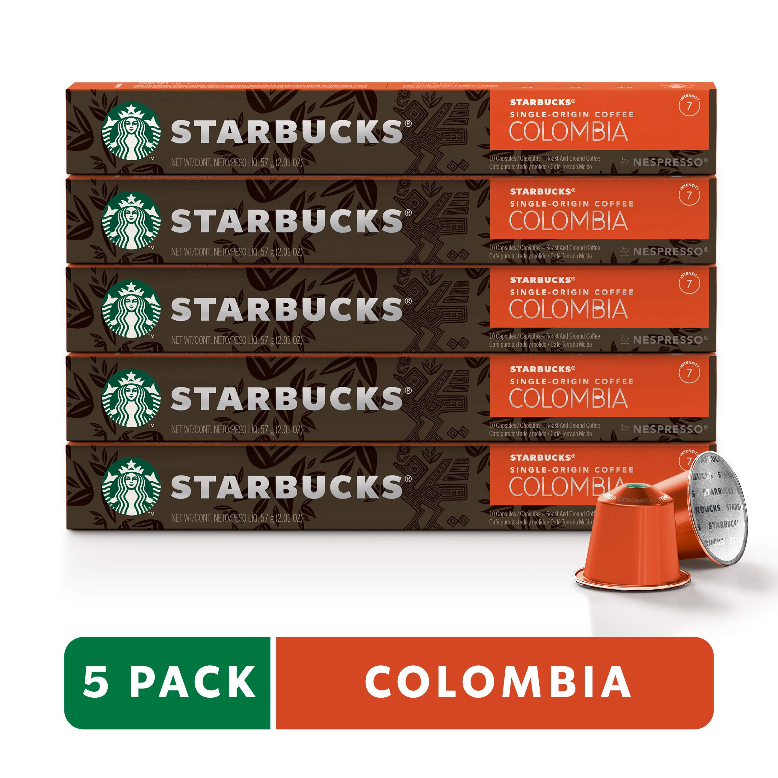 Starbucks by Nespresso, Single-Origin Colombia (50-count single serve capsules, compatible with Nespresso Original Line System) by Starbucks for Nespresso (Image #1)