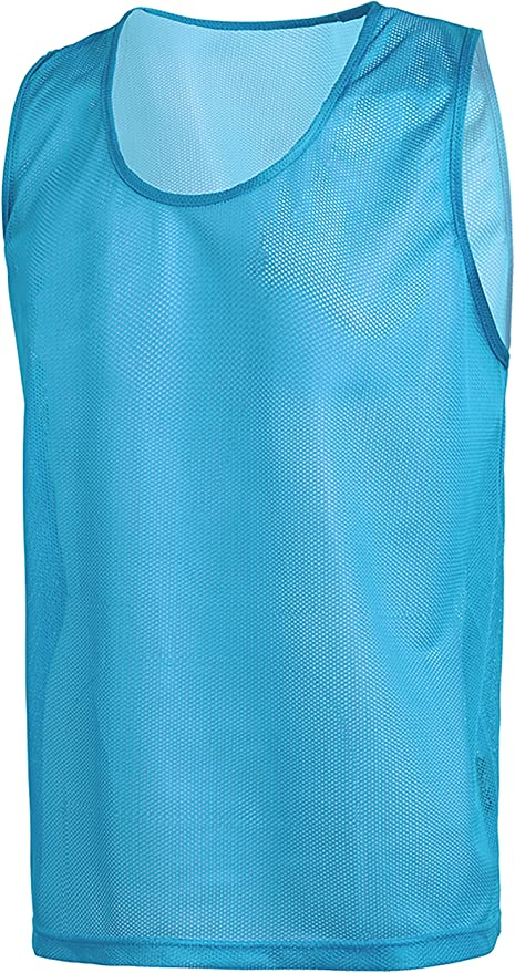 American Challenge Soccer Sports Scrimmage Vest Jersey Sky Blue, 10 Pack Child