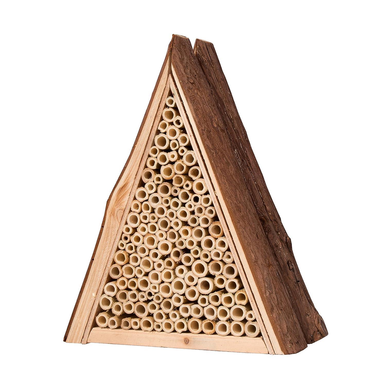 Gardigo 90541 - Abri et Ruche pour Abeilles Solitaires en Bois Naturel; Hôtel à Insectes; Maison, Nichoir à Guêpes - Facile à suspendre