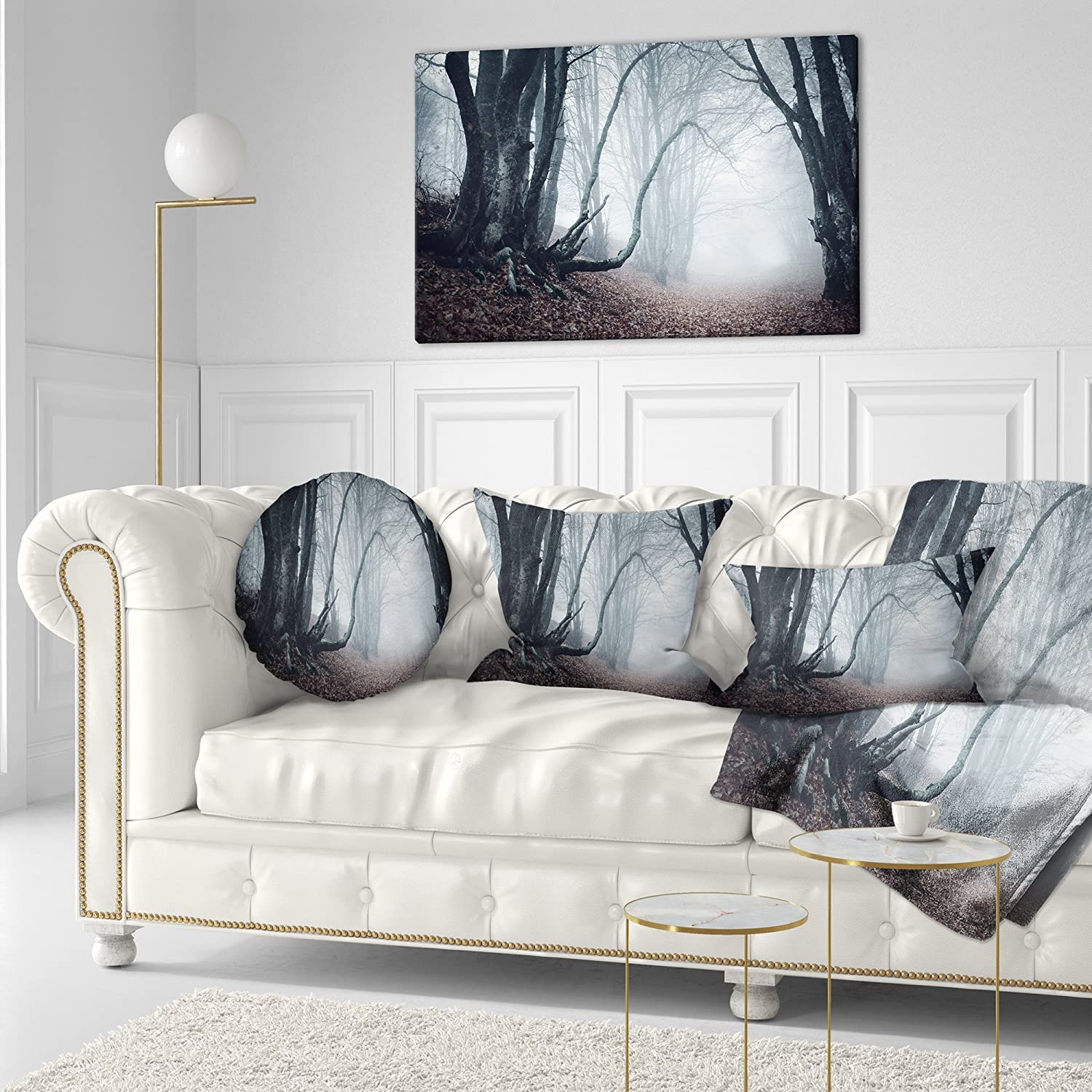 Home Kitchen Throw Pillow Covers Designart Cu8486 20 20 C Mysterious Fairytale Foggy Wood Landscape Photography Throw Pillow 20