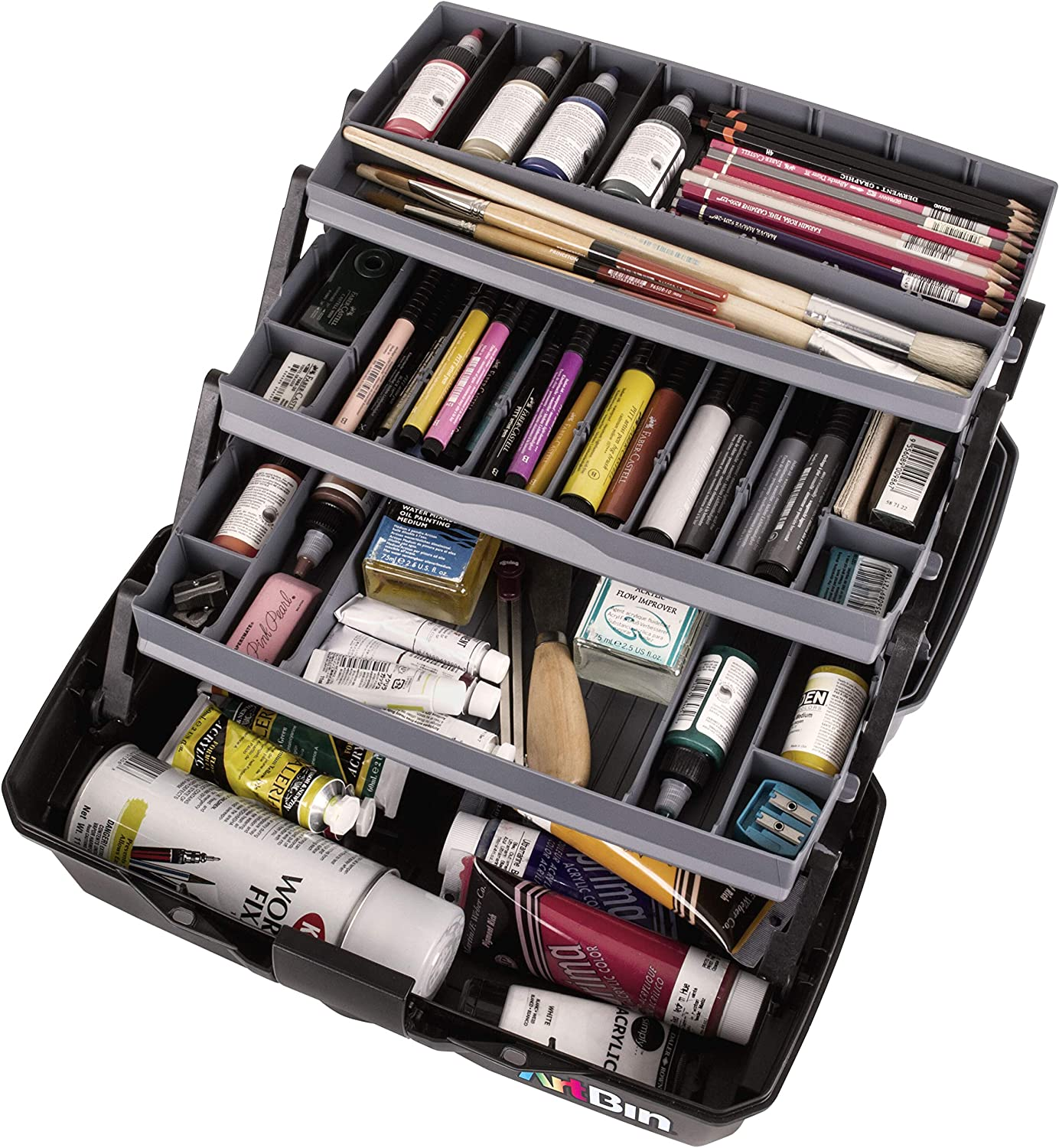 7.88 x 13 x 6.5 inches Portable Art /& Craft Organizer with Lift-Up Tray Plastic Storage Case Gray//Black Product Dimensions