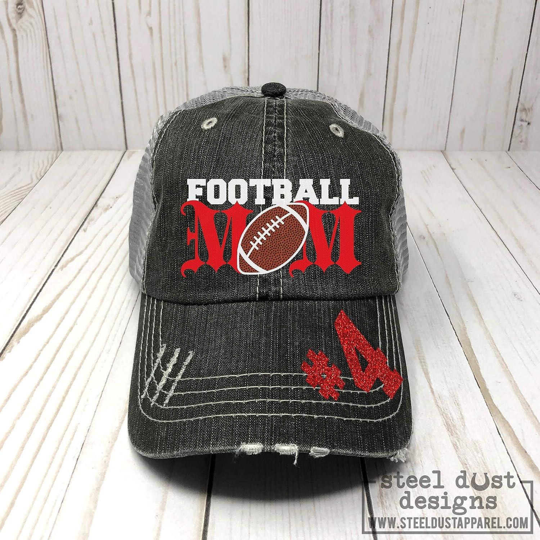 Football Mom Distressed Trucker Hat, Baseball Cap, Sports Team Spirit Wear for Mom