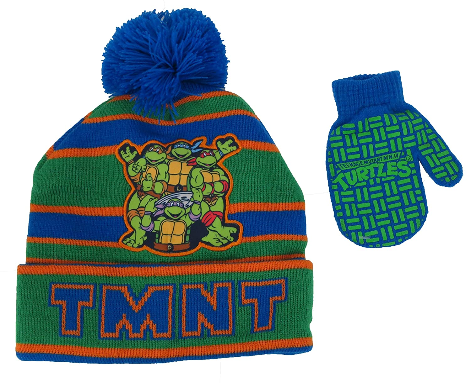Teenage Mutant Ninja TMNT Boys Striped Beanie Hat and Mitten Set Toddler [4013]