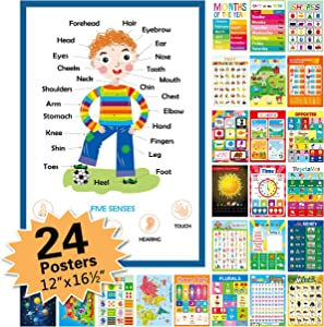 "24 Pack Educational Posters for Preschool,16.5"" x 12"" Classroom Decorations and Decor Earply Learning Chart for Nursery Homeschool Kindergarten Classroom"