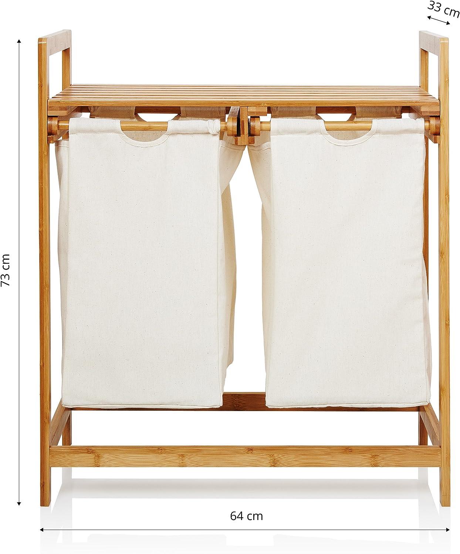 73 x 64 x 33 cm Beige ca mit 2 ausziehbaren W/äsches/äcken Lumaland W/äschekorb aus Bambus