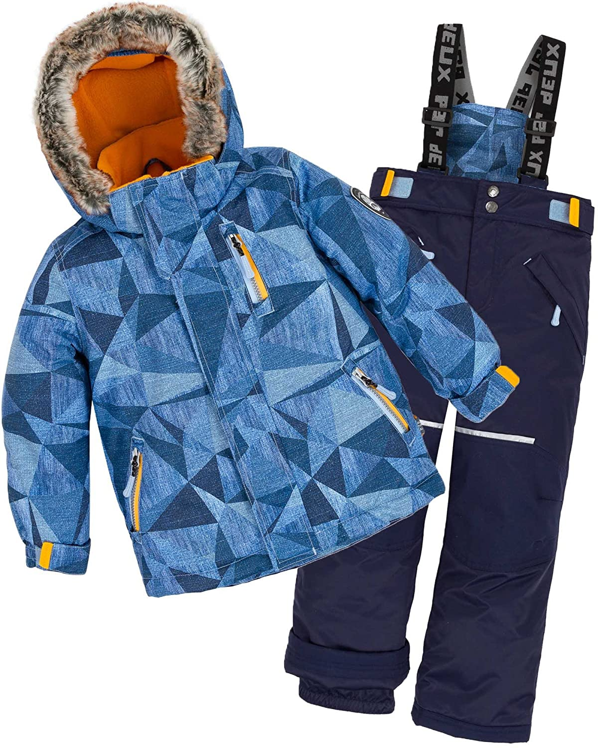 Deux par Deux Boys' 2-Piece Snowsuit Geo Jeans Navy, Sizes 3-14