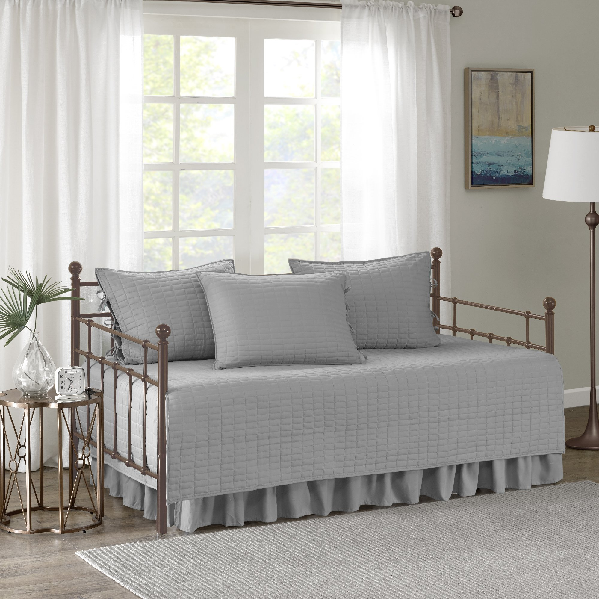 Comfort Spaces - Kienna Daybed Set - Stitched Quilt Pattern - 5 Pieces - Grey - Includes 1 Bed Spread, 1 Bed Skirt and 3 Pillow Cases