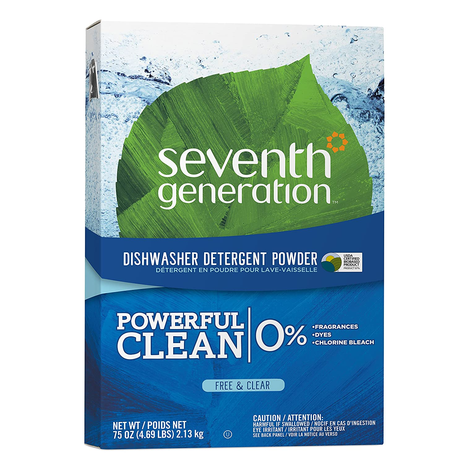 Seventh Generation Dishwasher Detergent Powder, Free & Clear, 75 oz