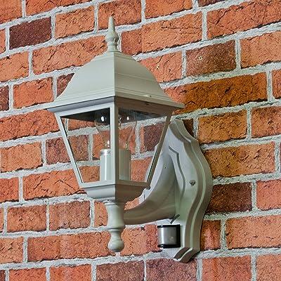 """'Lanterne de jardin en fonte d'aluminium""""Tirol en blanc/gris avec détecteur de mouvement douille E27Applique murale pour l'extérieur avec capteur"""