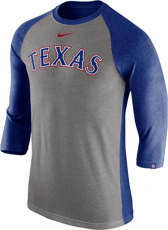 Nike Mens Texas Rangers Tri-Blend Raglan Tee Gray
