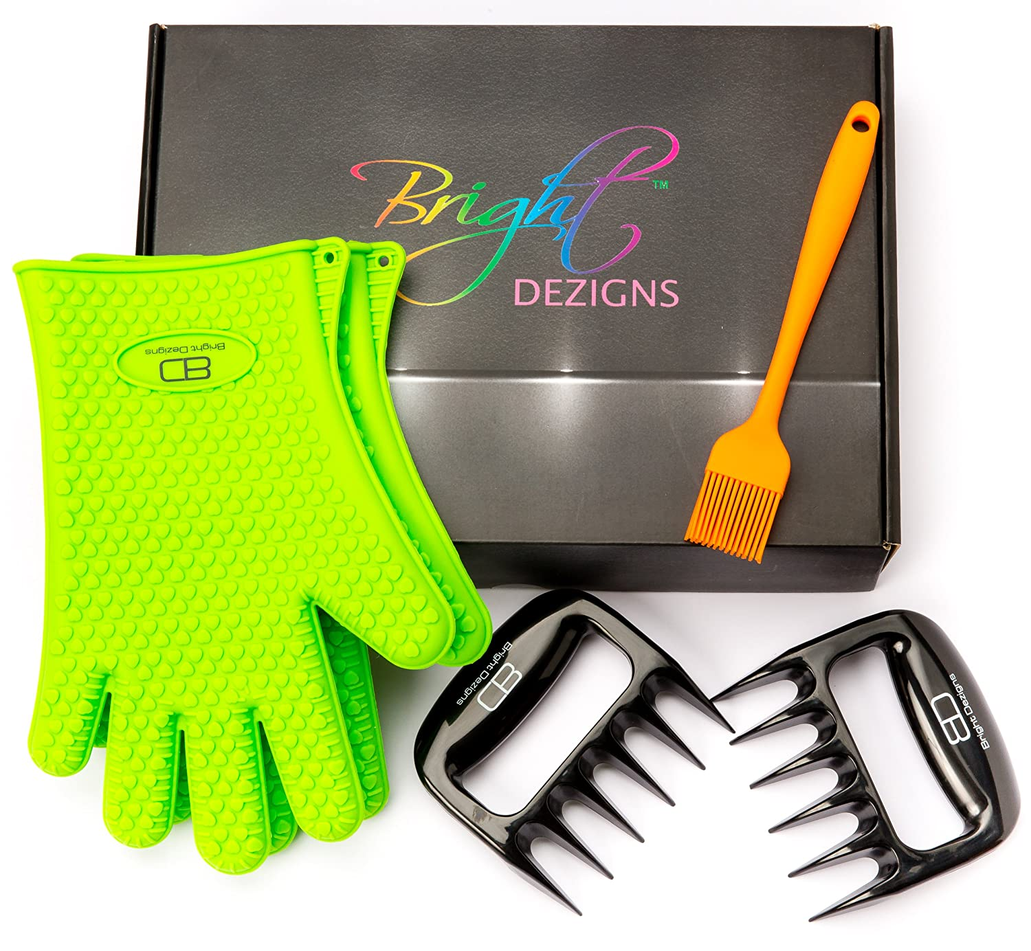 Bright Dezigns Silicone Heat Proof Bbq Grill Gloves | Cooking Grilling Barbecues| PLUS Set of 2 Meat Handling Bear Claws| Meat,Chicken shredders & Silicone Basting Brush | Nice Gift Set Idea.
