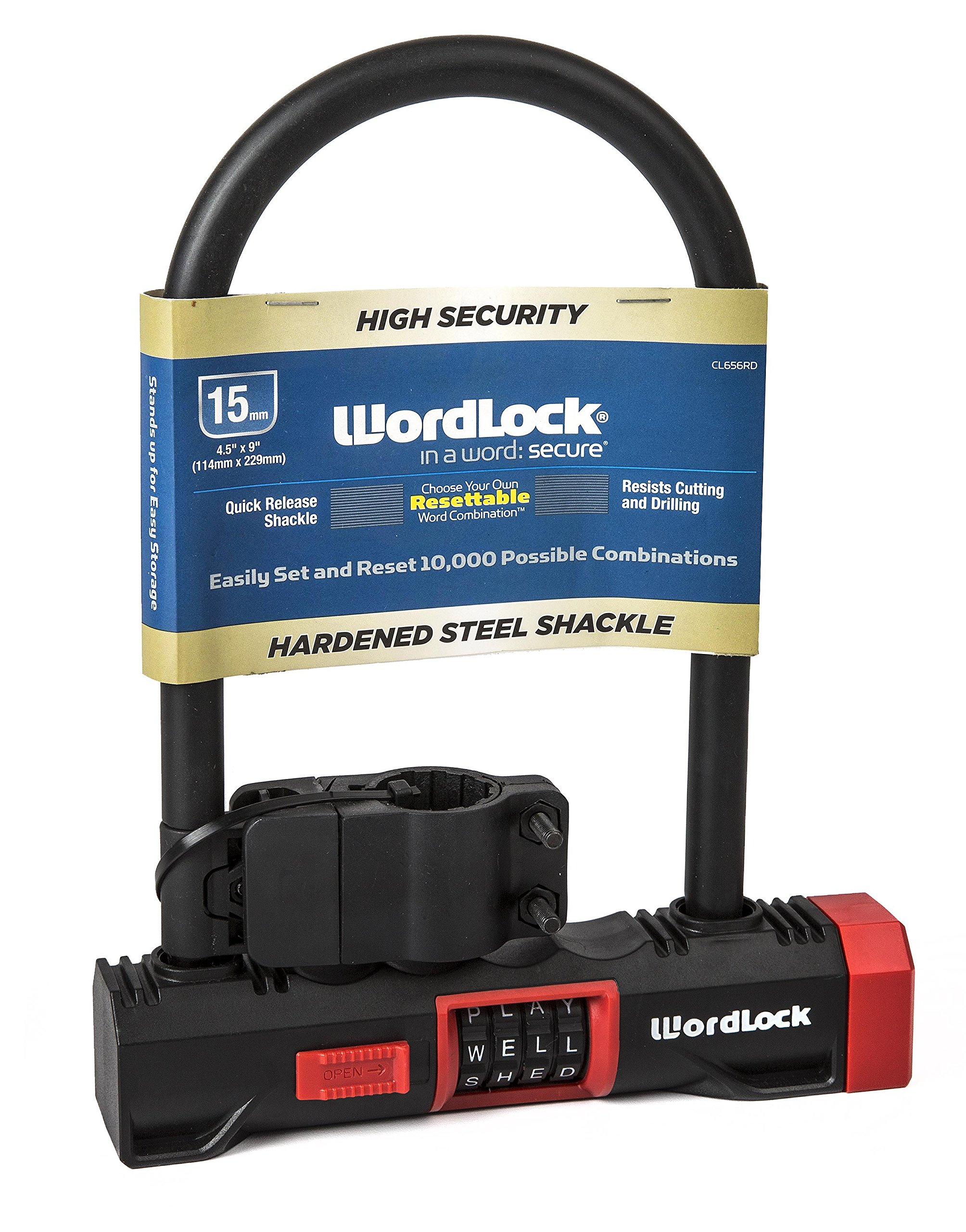 Wordlock Combination U Lock – 4 Dial, 8 Inch, Matte Red by Wordlock