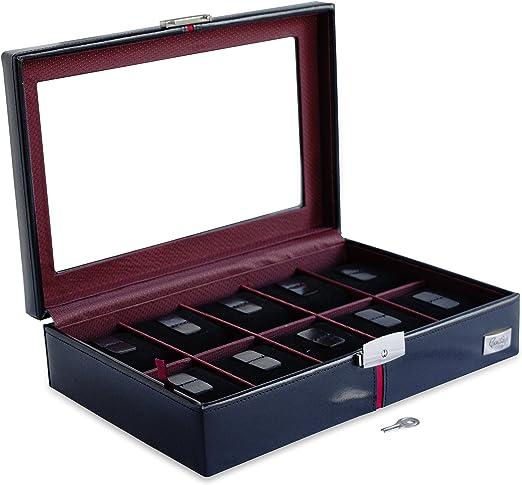 CORDAYS - Estuche Relojero Deluxe en Piel para 10 Relojes con ...