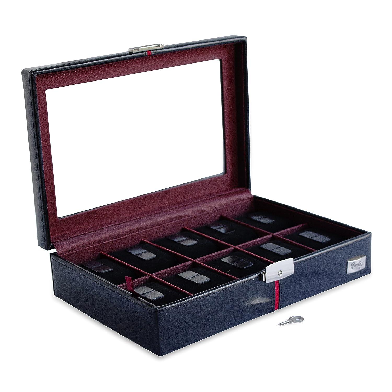 Cordays - Estuche Relojero Deluxe en Piel para 10 Relojes con Vitrina de Cristal Caja Organizadora Relojes – Edición Coleccionista - Hecho a Mano - en Color Negro CDM-00003