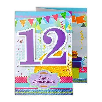 Afie 882113 Carte 3 Volets Joyeux Anniversaire 12 Ans Amazon Fr