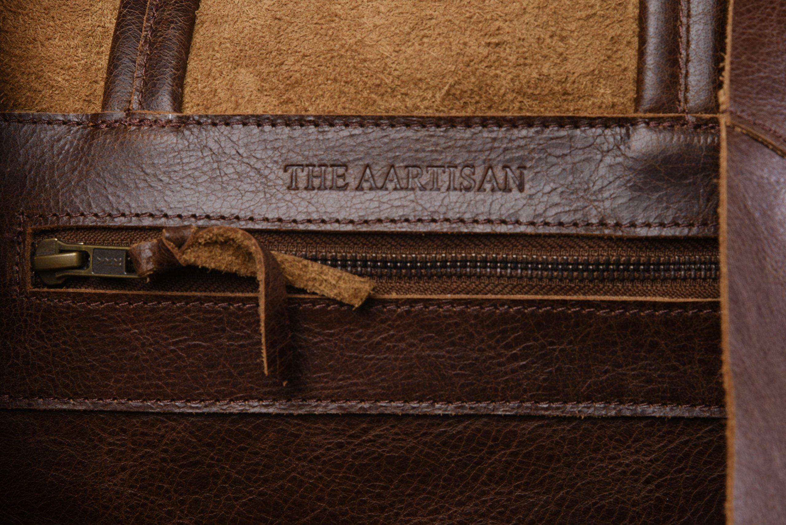Women's Vintage Genuine Leather Tote Shoulder Bag - Large Capacity Travel Handbag by THE AARTISAN (Image #7)