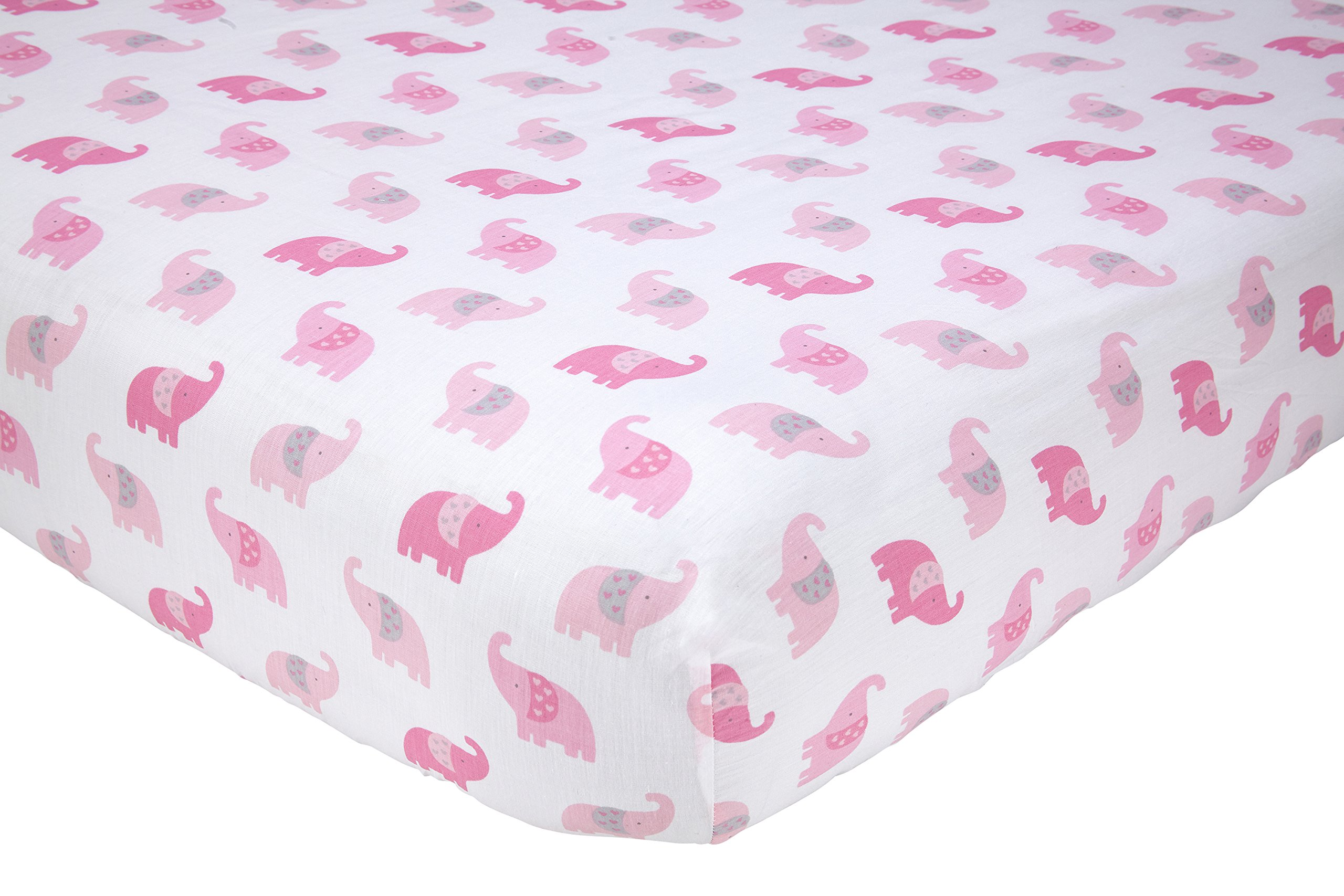 Little Love by NoJo Separates Collection Elephant Printed Crib Sheet, Pink, 52'' x 28''
