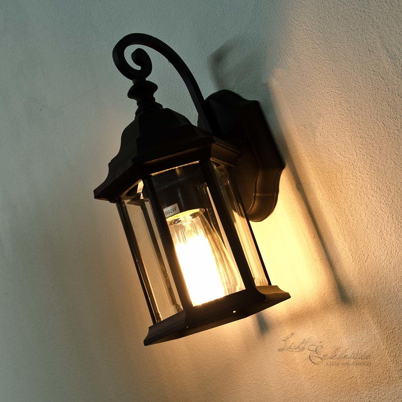 Rustikale Außenwandleuchte Wien Schwarz E27 230V IP21 Wandlampe Außenleuchte nostalgisc Licht-Erlebnisse CX120320