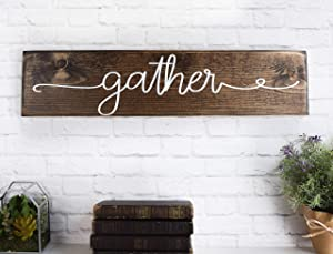 EricauBird Wood Sign-Gather Wood Sign, Wooden Sayings Wall D¨¦cor, Rustic Farmhouse Sign,Custom Signs Home Decor, Wooden Signs with Quotes, Thanksgiving, Home Wall Art, 6x16