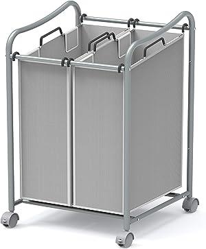 Simple Houseware 2-Bag Heavy Duty Rolling Laundry Sorter Cart, Silver