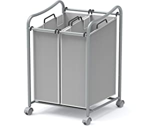 Simple Houseware 2-Bag Heavy Duty Rolling Laundry Sorter Cart, Grey