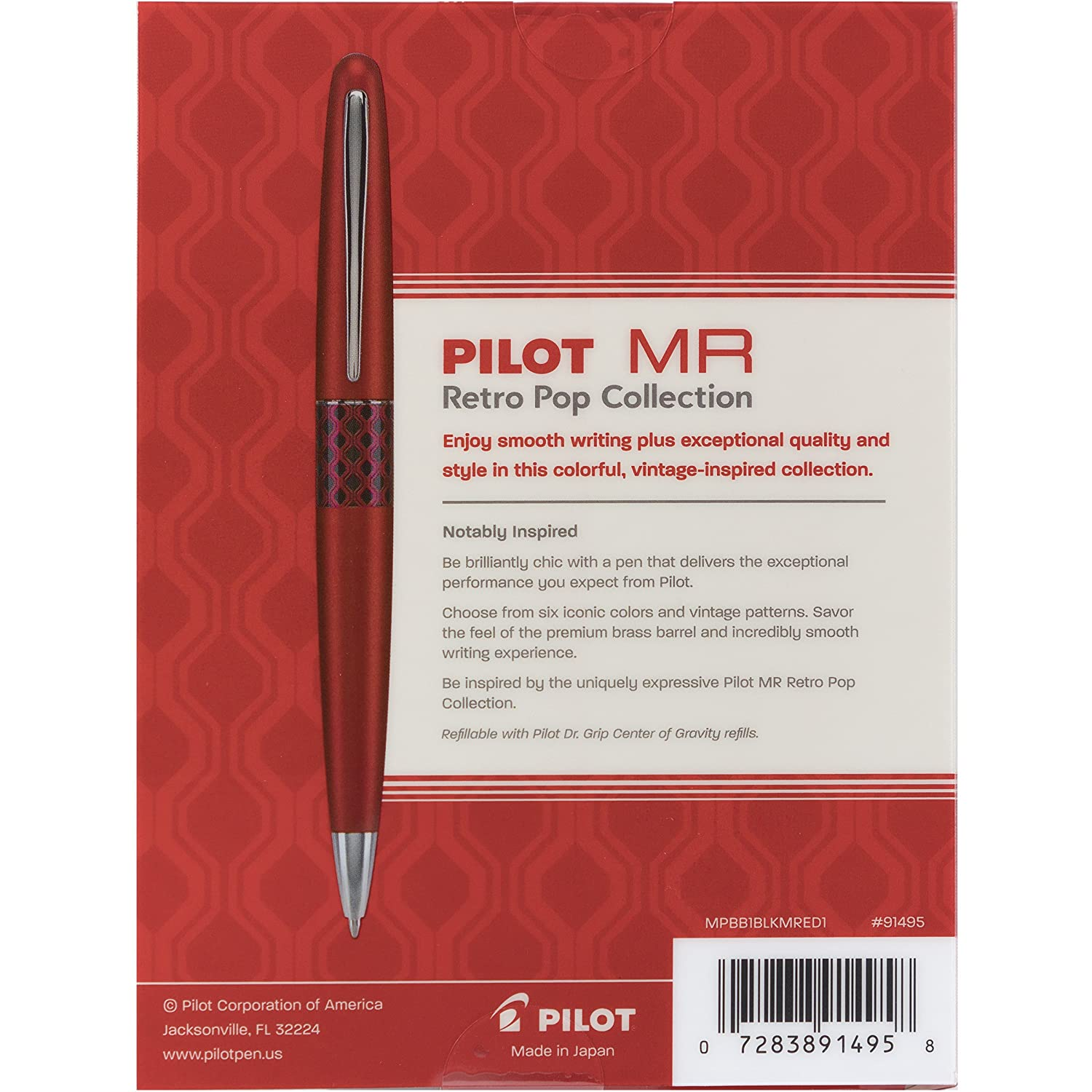 91490 Fine Point Nib Stainless Steel Nib Refillable Modern Design Fountain Pen with Retro Patterns Marigold with Flower Accent Pilot MR Retro Pop Collection Fountain Pen Gift Box with 2 Refills