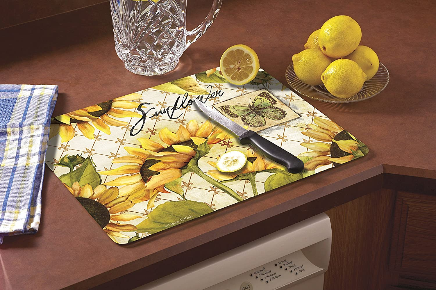 CounterArt Sunflowers in Bloom Glass Cutting Chopping Board 15 x 12 Inches